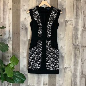 French Connection black printed mini dress